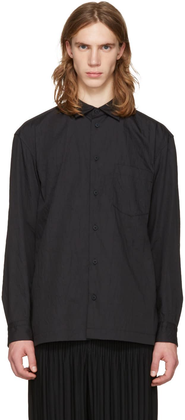 Issey Miyake Men Black Wrinkled Classic Shirt