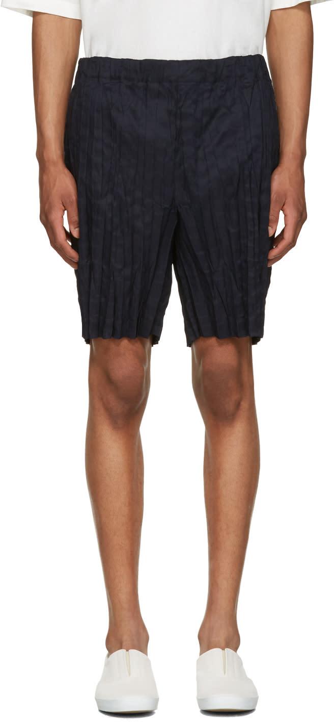 Issey Miyake Men Navy Wrinkled Linen Shorts