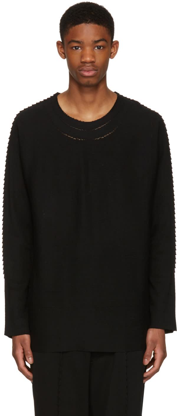 Issey Miyake Men Black Textured Pullover
