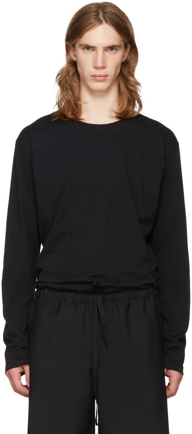 Issey Miyake Men Black Cotton Long Sleeve T-shirt
