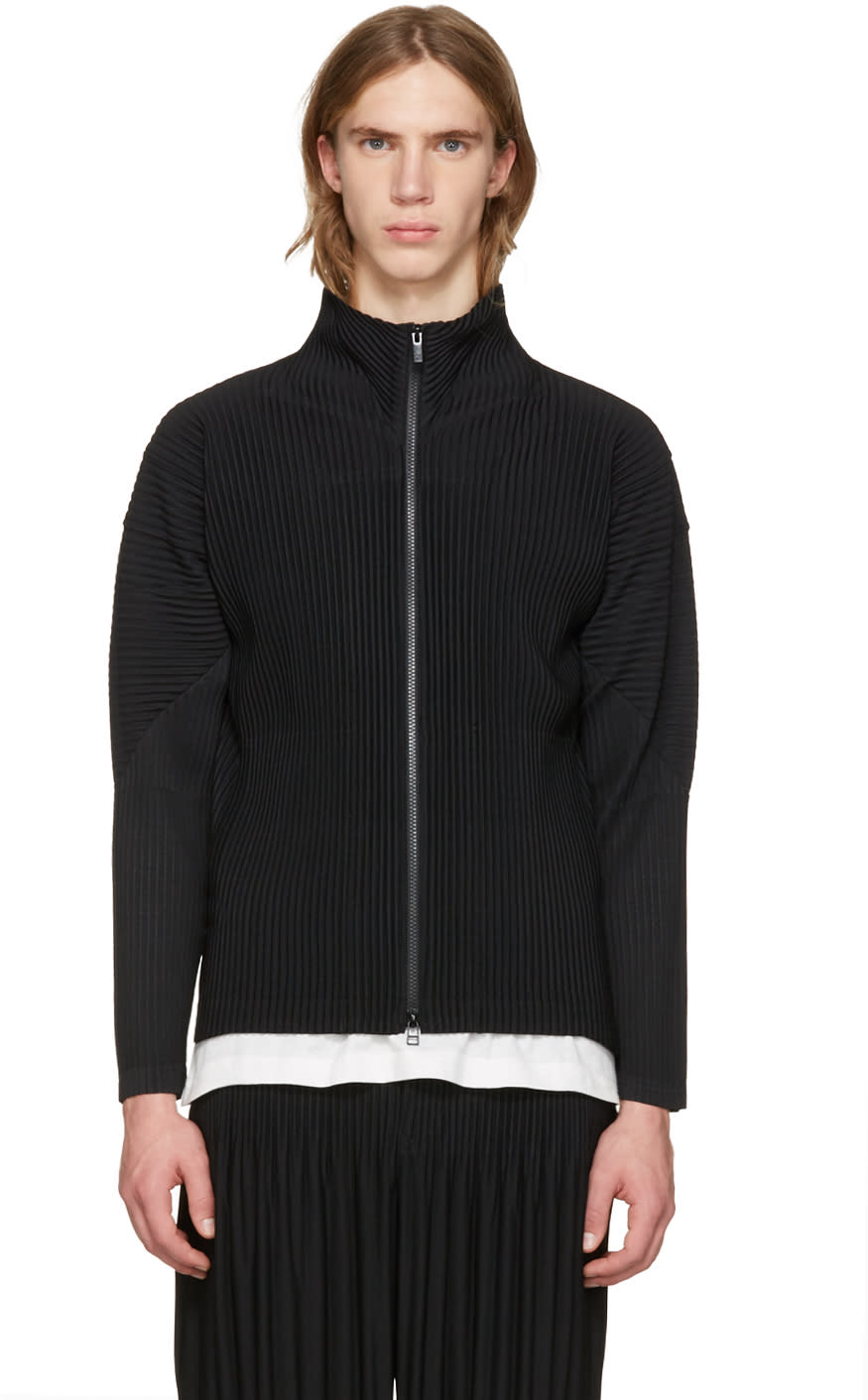 Homme Plisse Issey Miyake Black Classic Pleats Track Jacket
