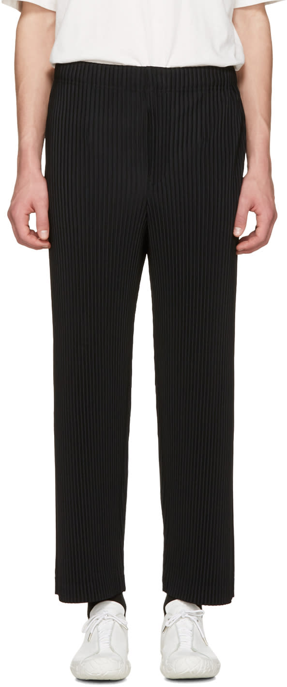 Homme Plissé Issey Miyake Black Classic Pleats Straight Trousers