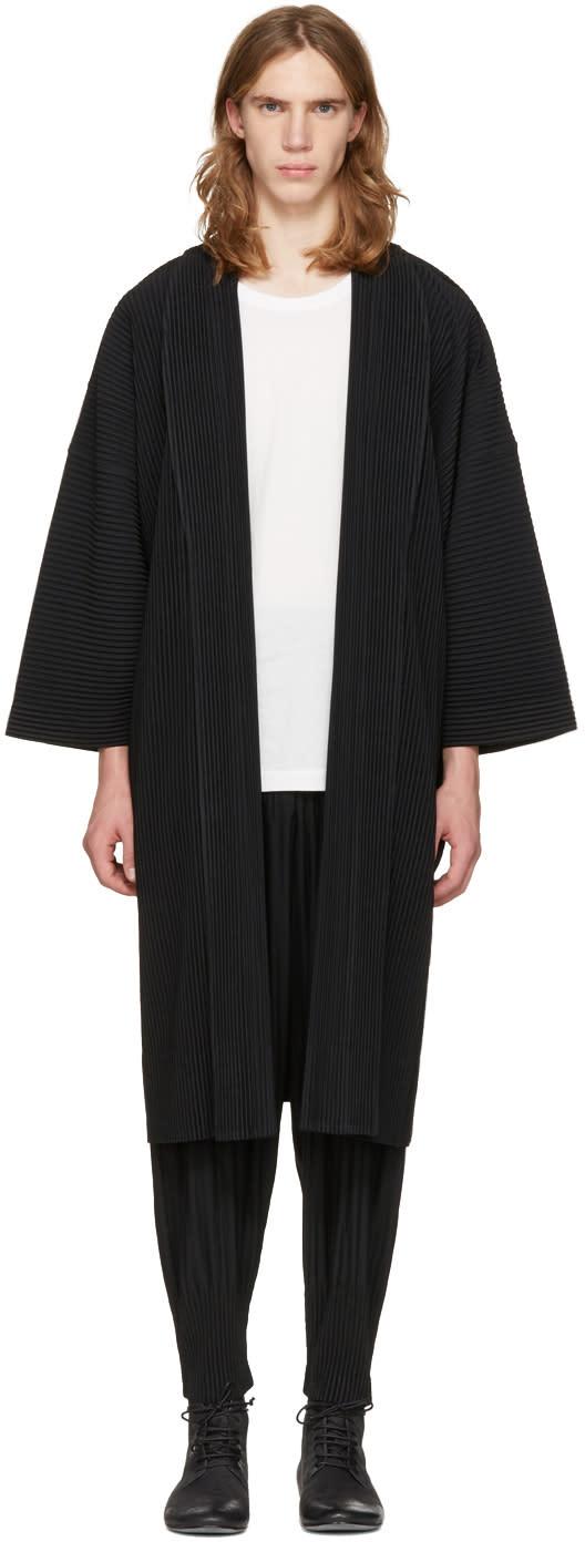 Homme Plissé Issey Miyake Black Long Kimono Coat