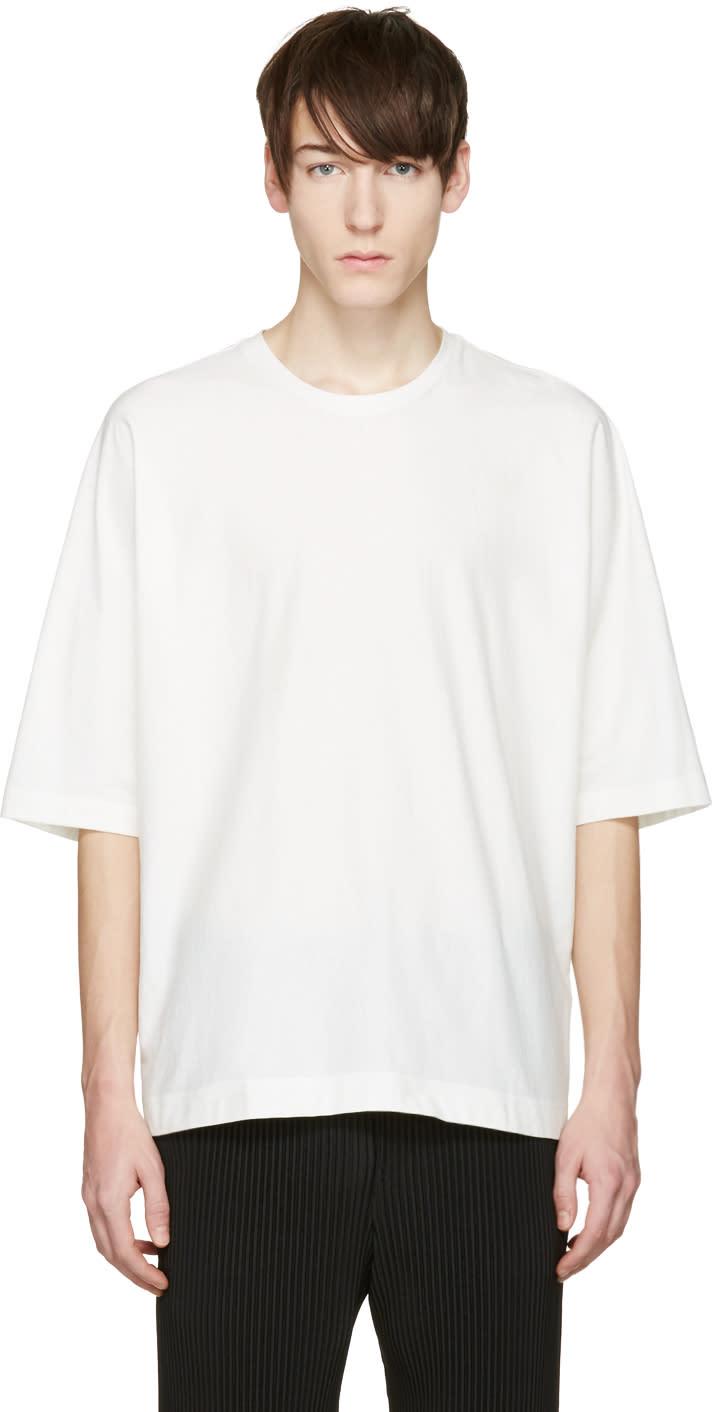 Homme Plisse Issey Miyake White Oversized Bat Sleeve T-shirt