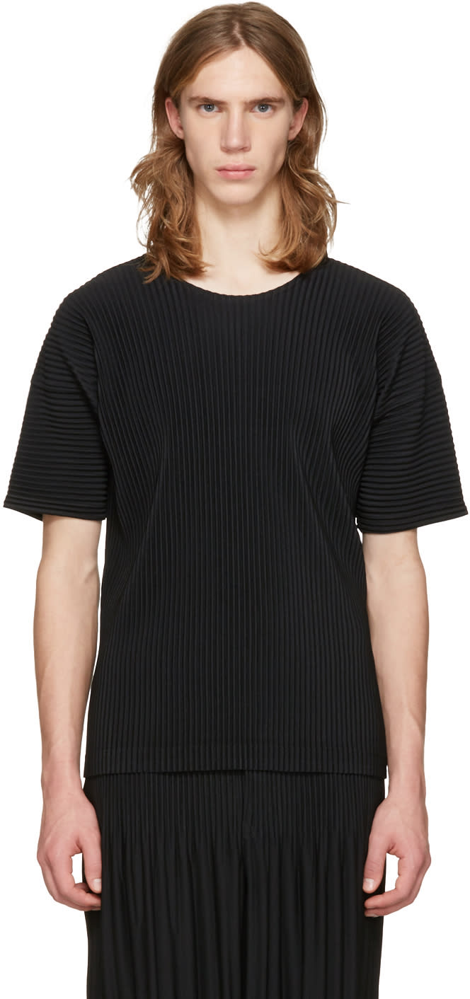 Homme Plisse Issey Miyake Black Classic Pleats Basic T-shirt