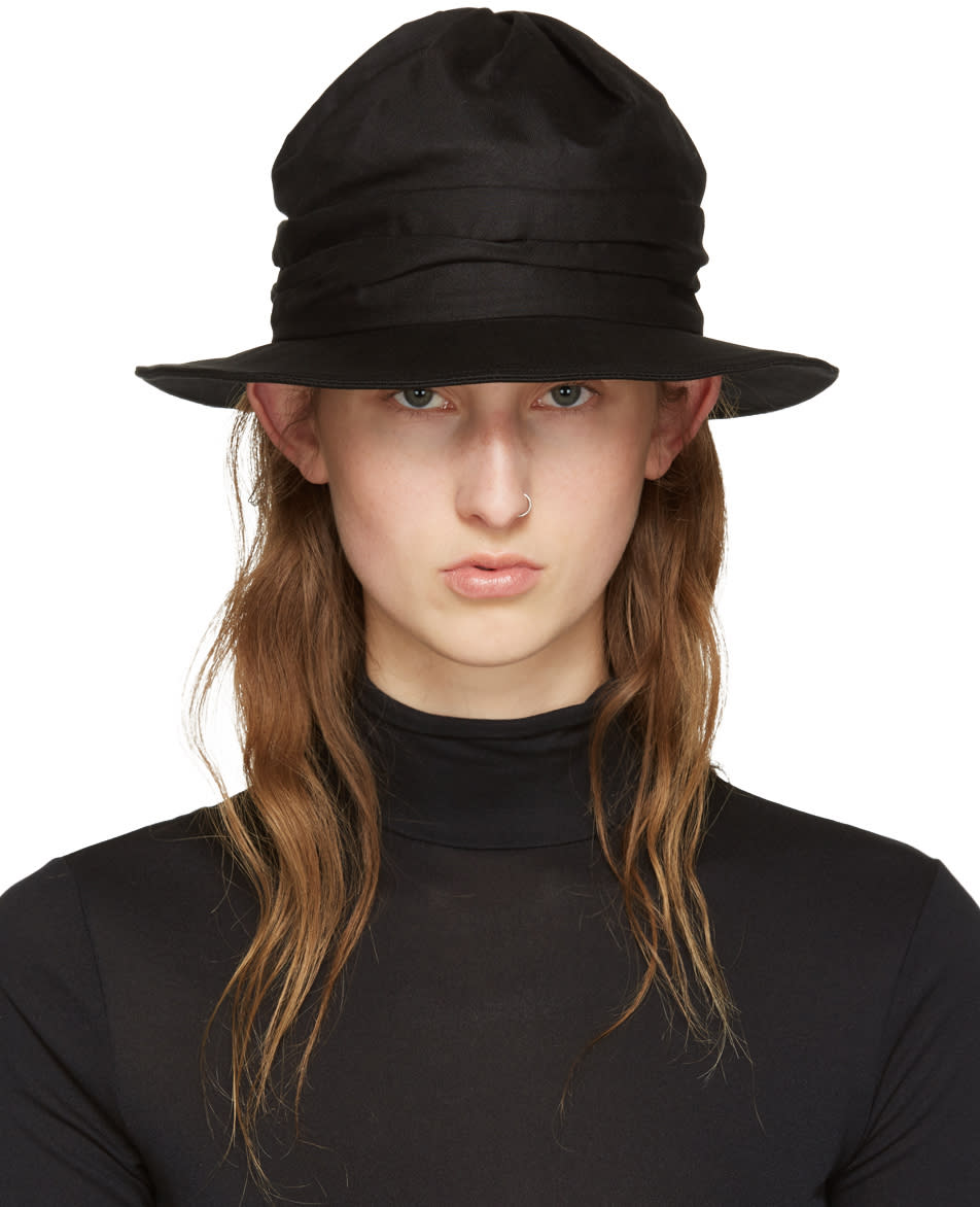 Ys Black Twist Drape Hat