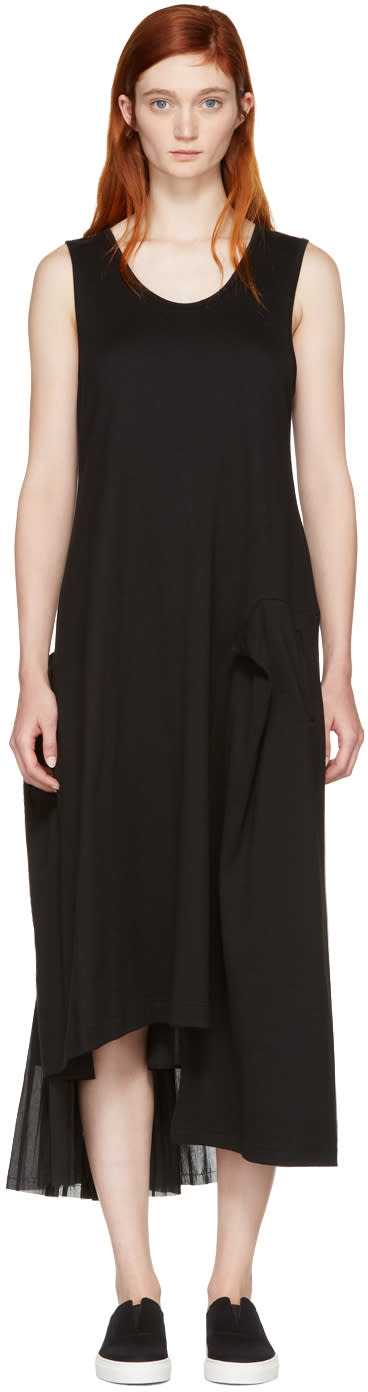 Ys Black Contrast Pleat Dress