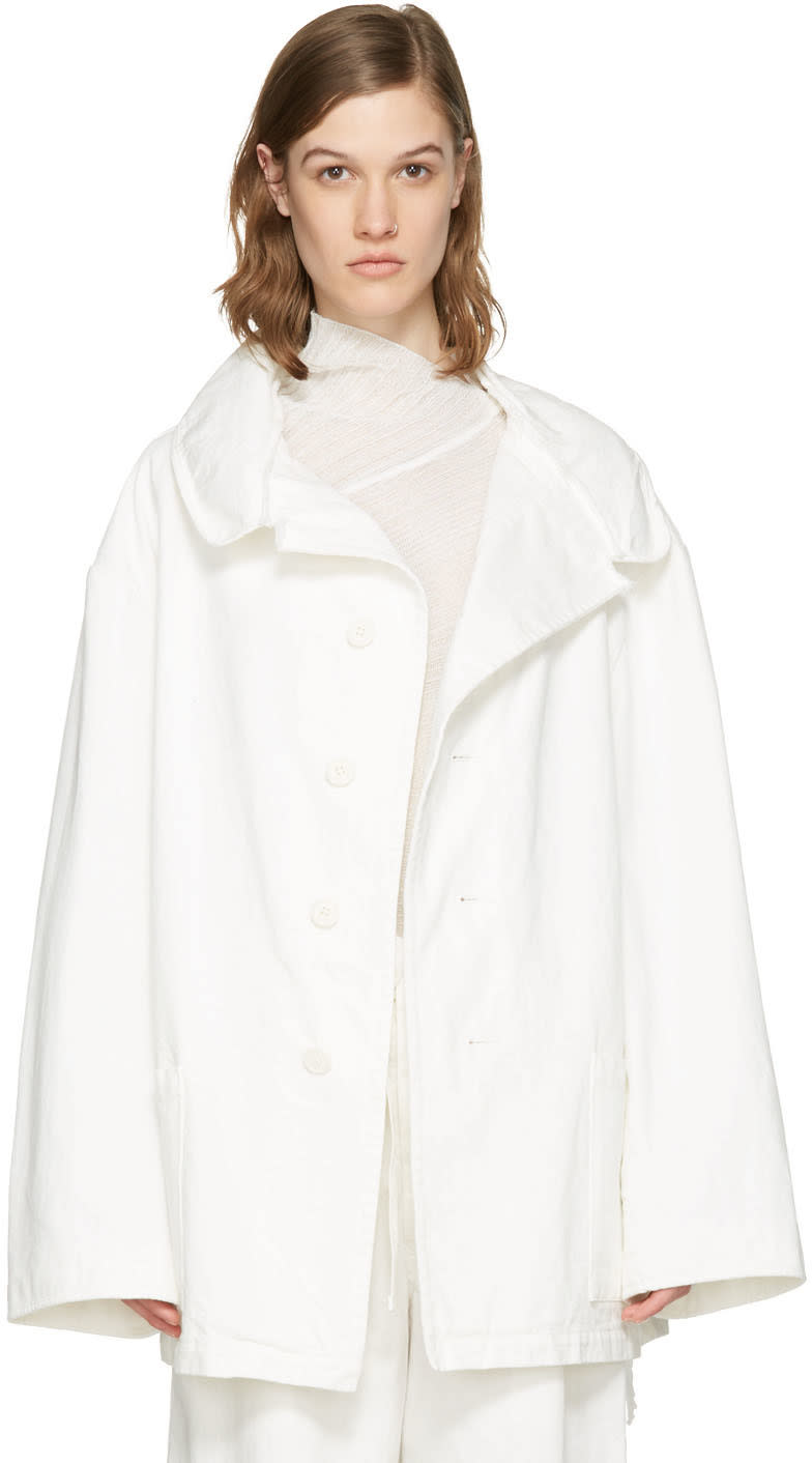 Ys White Denim Wide Lapel Coat