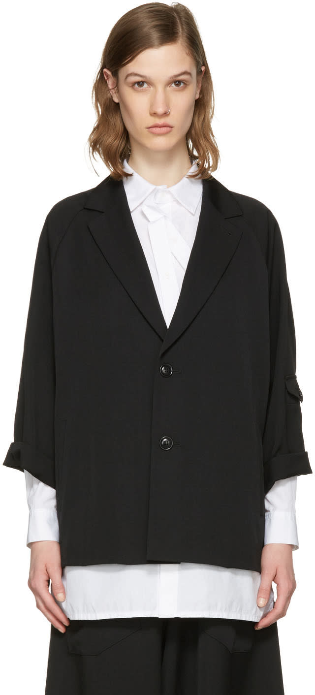 Ys Black Raglan Sleeve Blazer