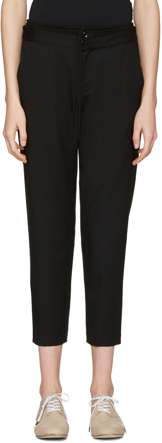 Ys Black Double Waistband Trousers