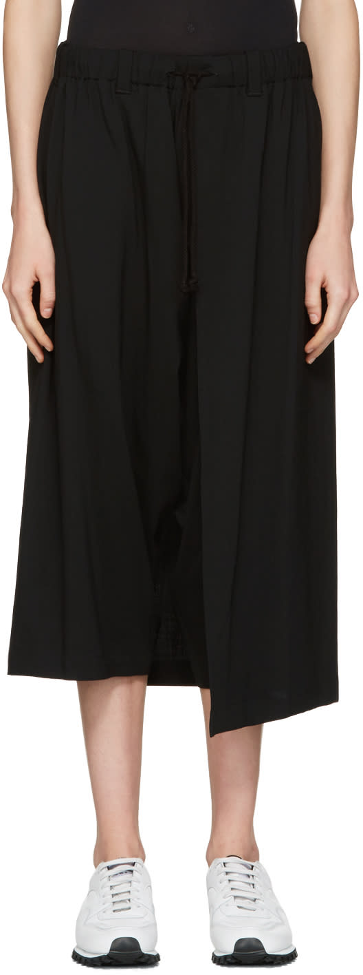 Ys Black Wool Wrap Trousers