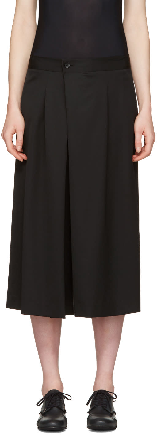 Ys Black Cropped Tuck Trousers