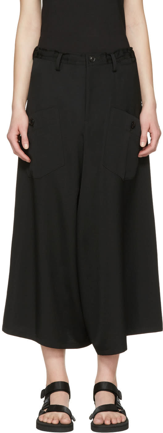 Ys Black Wide-leg Cargo Trousers