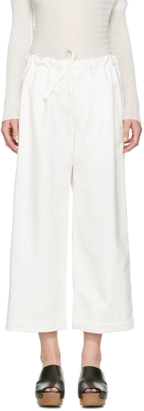 Ys White Denim Drawstring Trousers