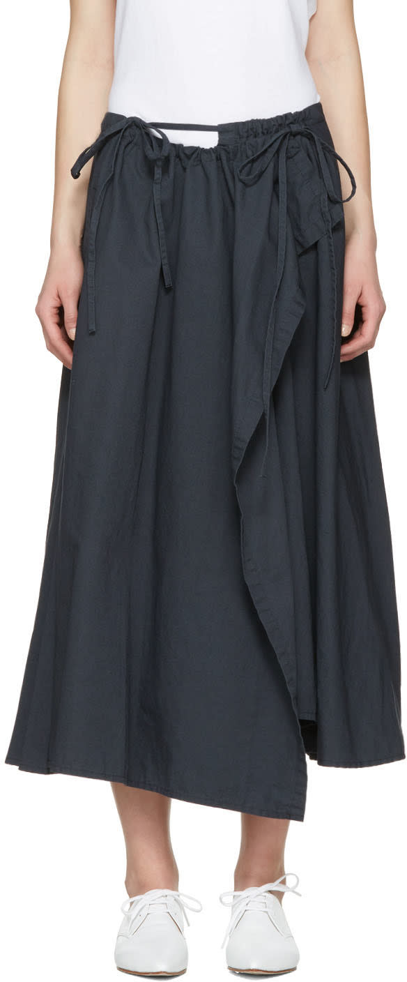 Ys Navy Wrap Skirt