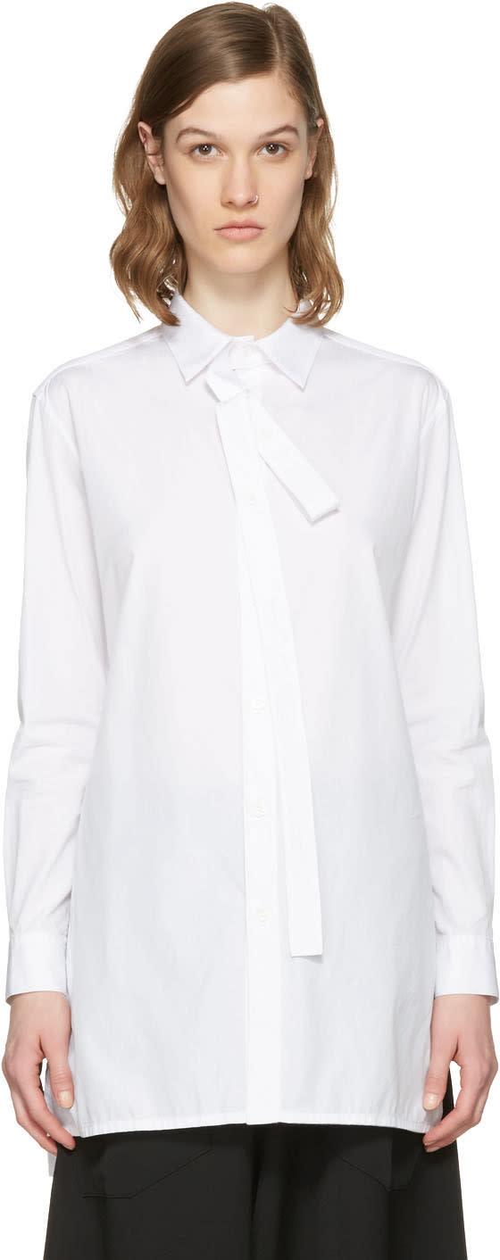 Ys White Loose Placket Shirt