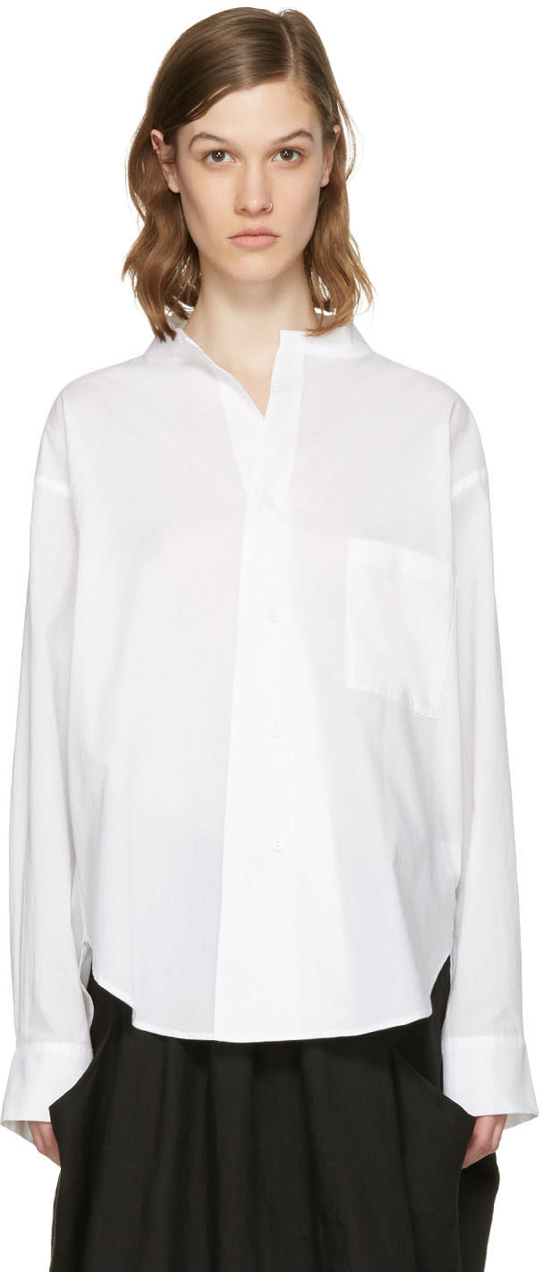 Ys White Open Collar Shirt