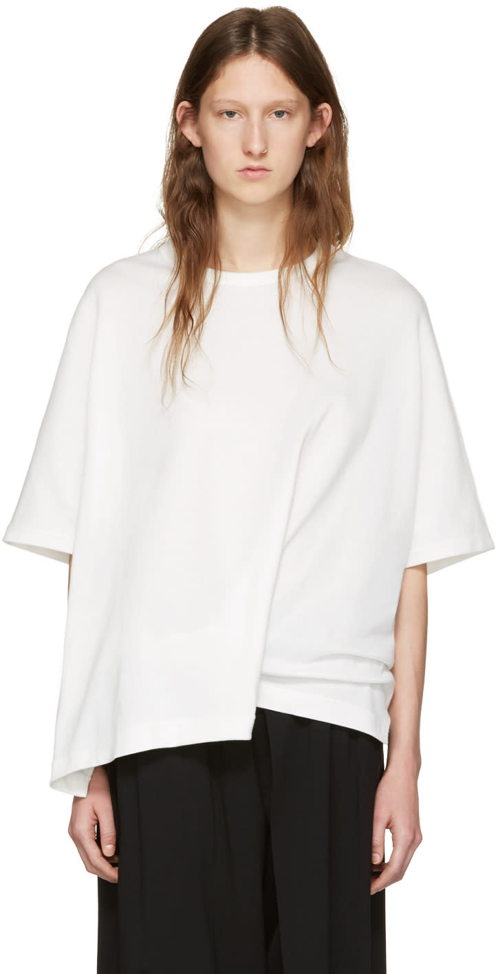 Ys White Draped T-shirt