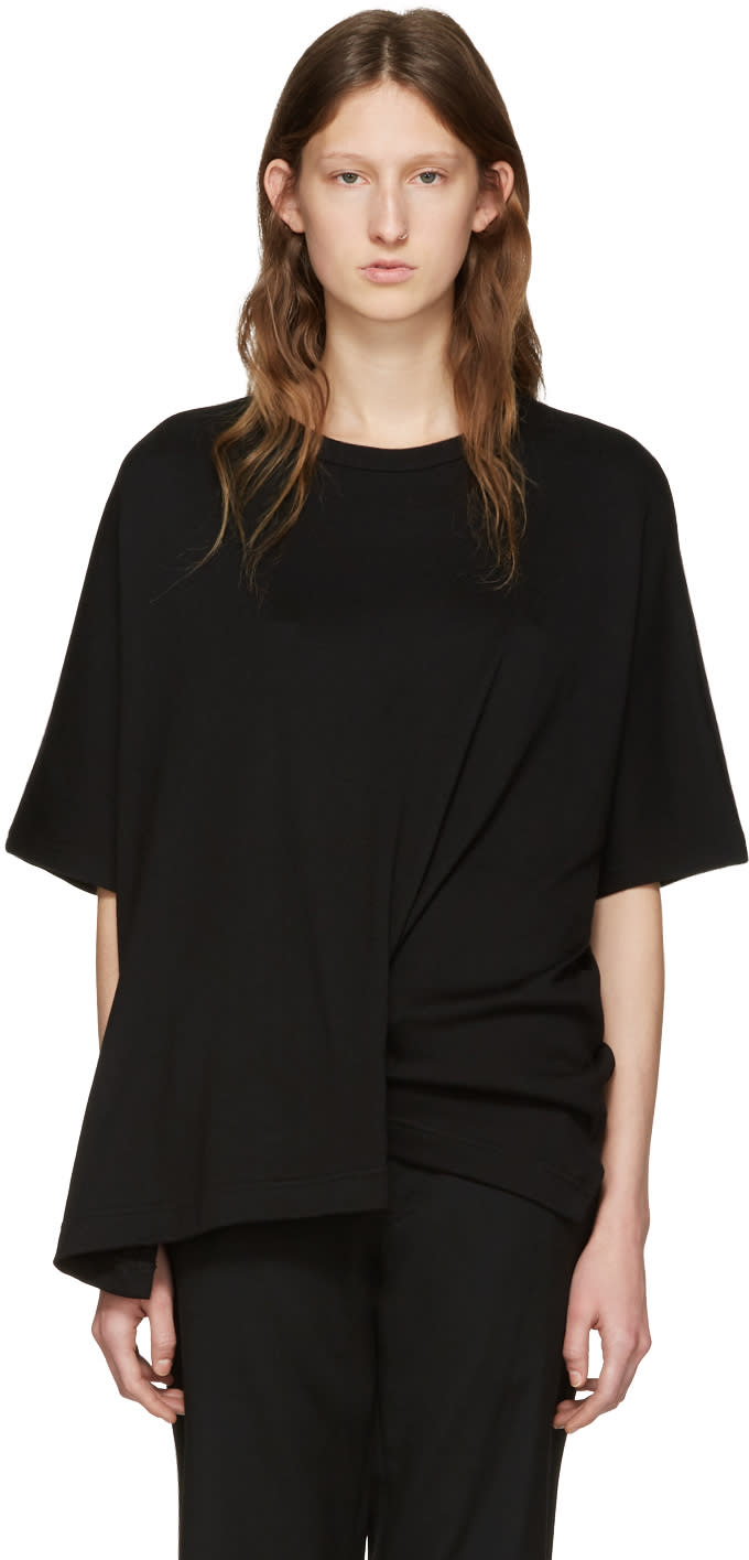 Ys Black Draped T-shirt