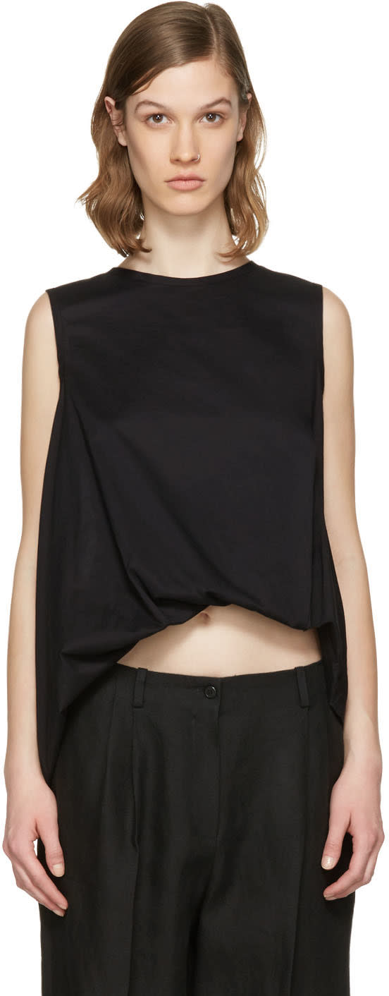 Ys Black Twist Tank Top