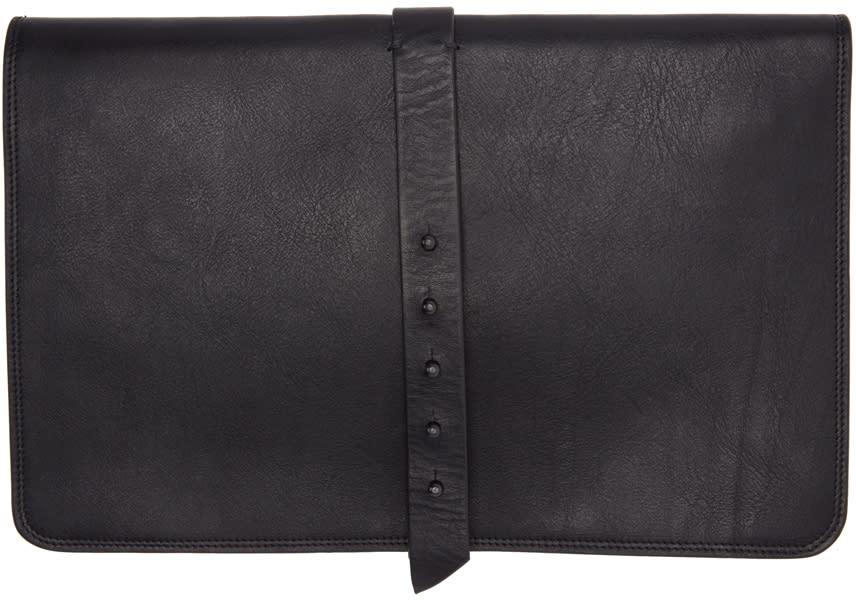 Isabel Benenato Black Leather Document Holder