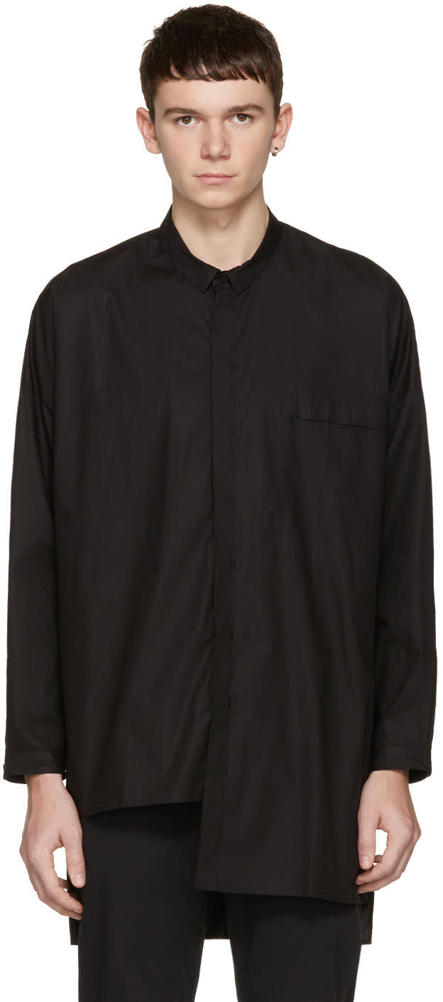 Isabel Benenato Black Poplin Oversized Shirt