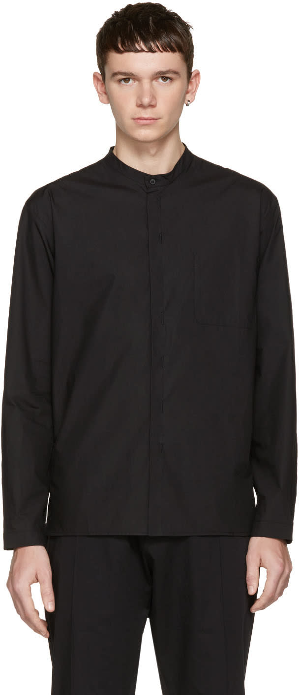Isabel Benenato Black Cut-out Pocket Shirt
