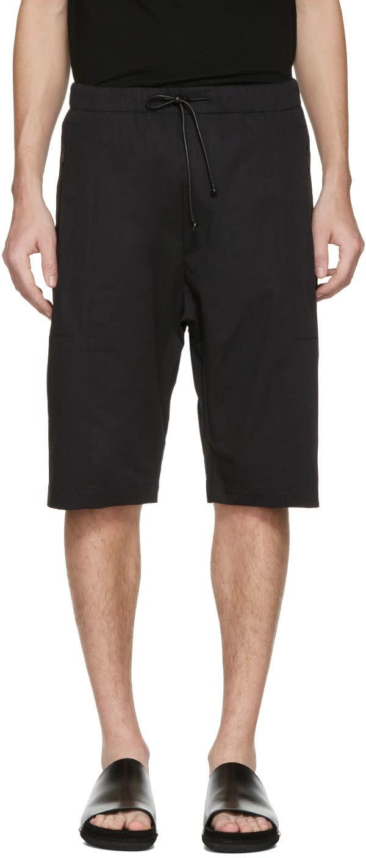 Image of Isabel Benenato Black Cotton Zip Shorts