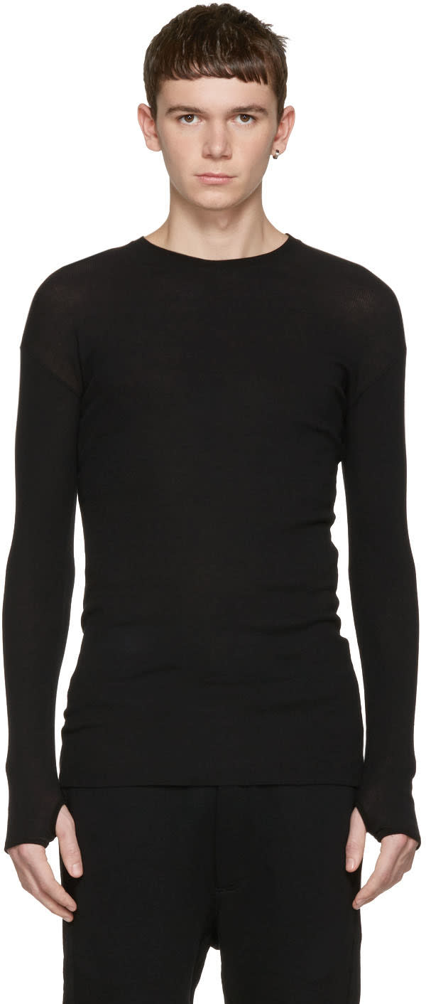 Isabel Benenato Black Ribbed Pullover
