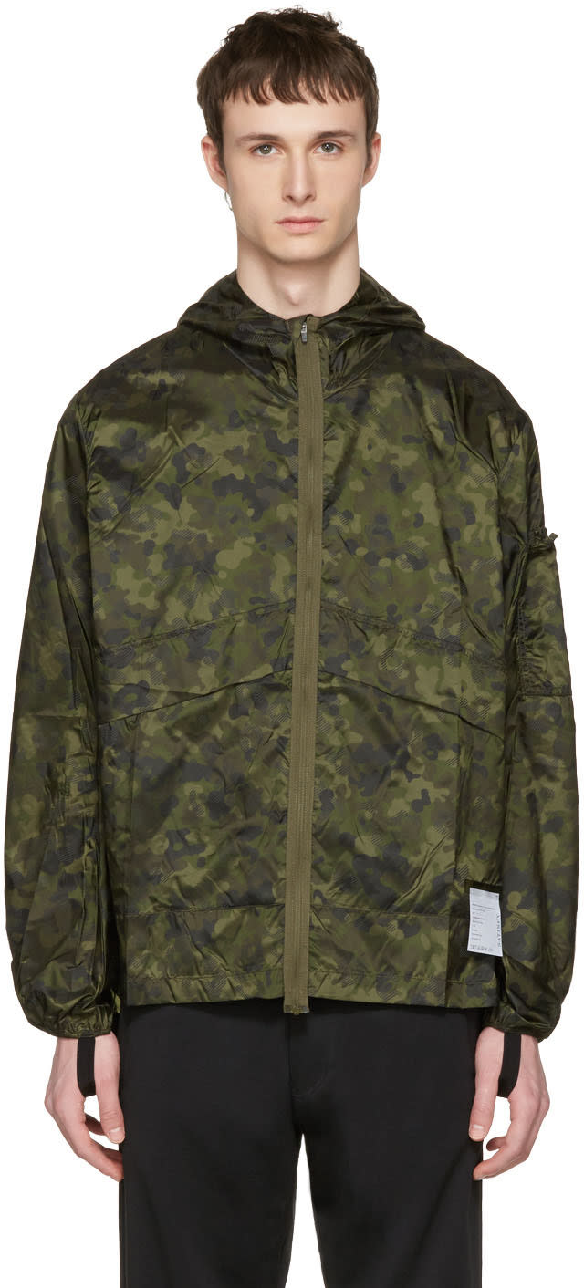 Satisfy Green Camo Packable Windbreaker