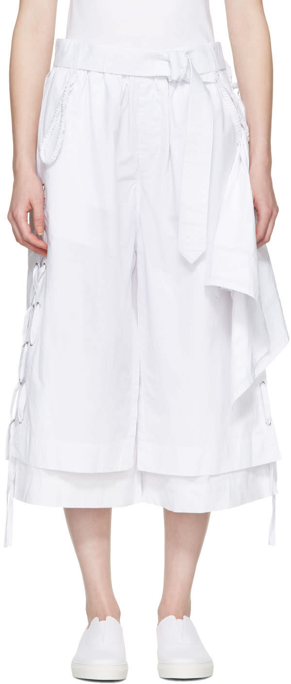 Craig Green White Cotton Long Layered Shorts