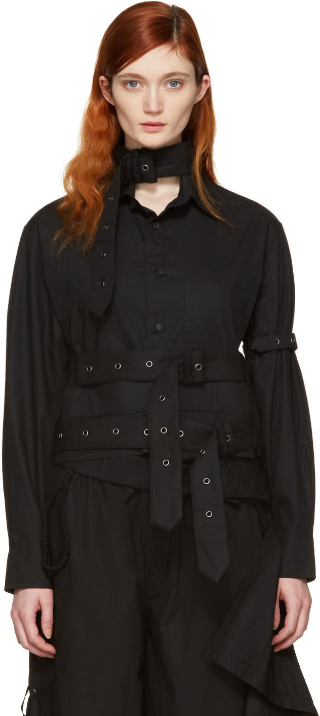 Craig Green Black Cotton Cropped Shirt