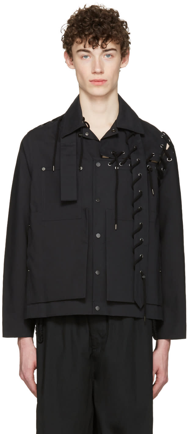 Craig Green Black Laced Workwear Jacket