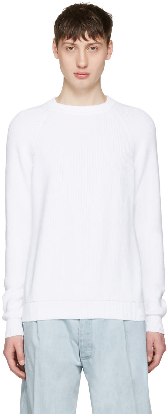 Sunnei White Ribbed Sweater