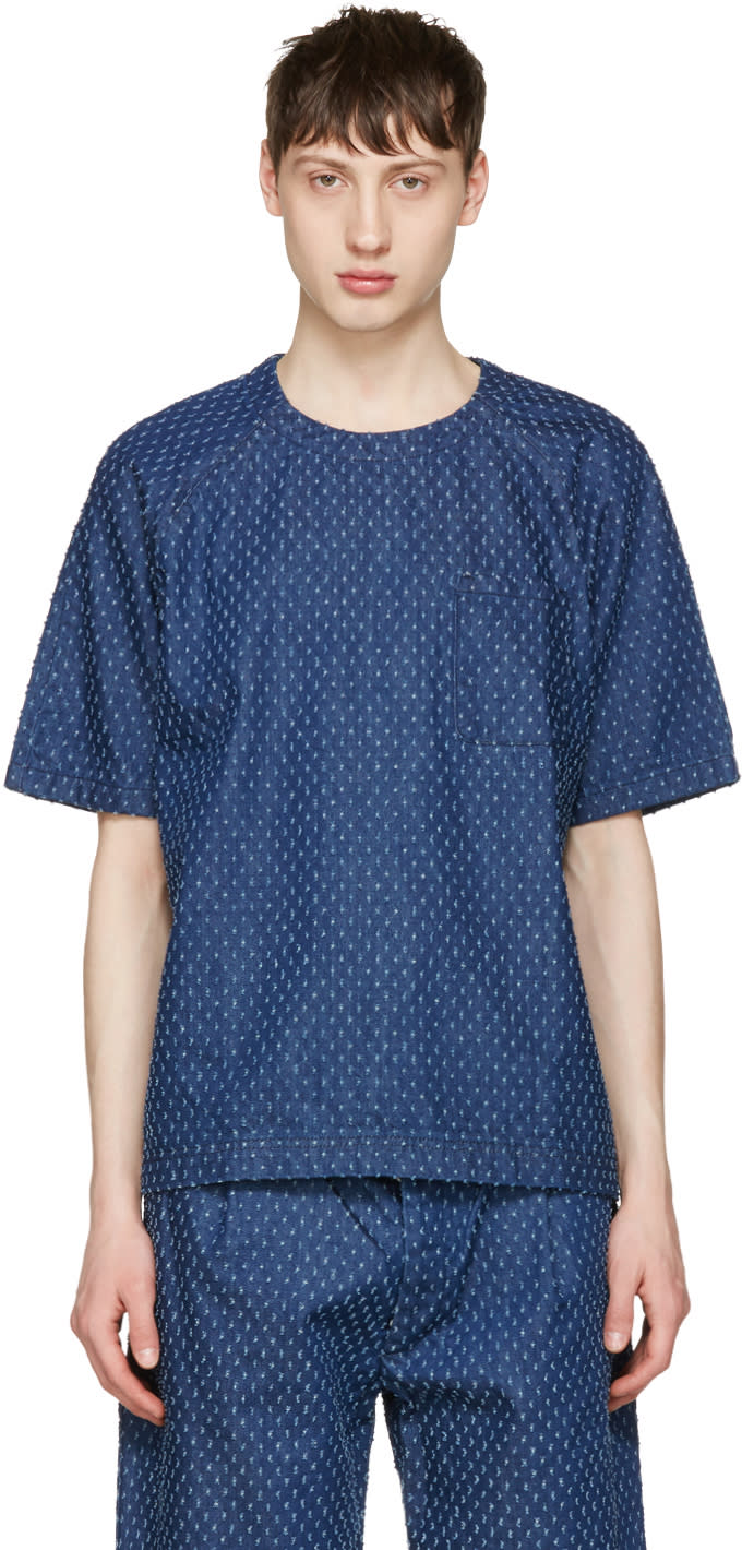 Sunnei Blue Denim Lasered T-shirt