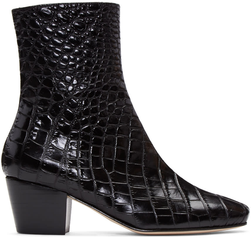 Dorateymur Black Croc-embossed Droop Nose Boots