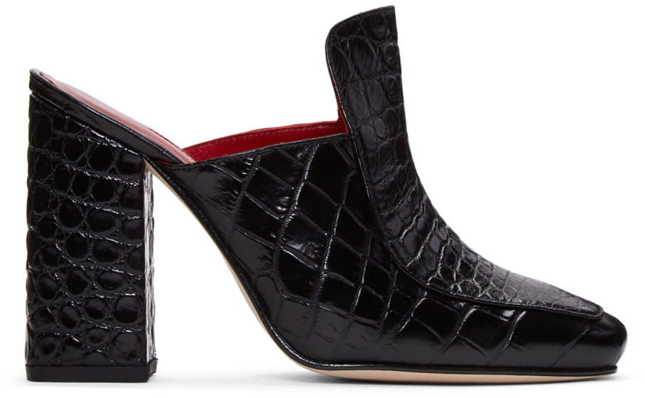 Dorateymur Black Croc-embossed Munise Heels