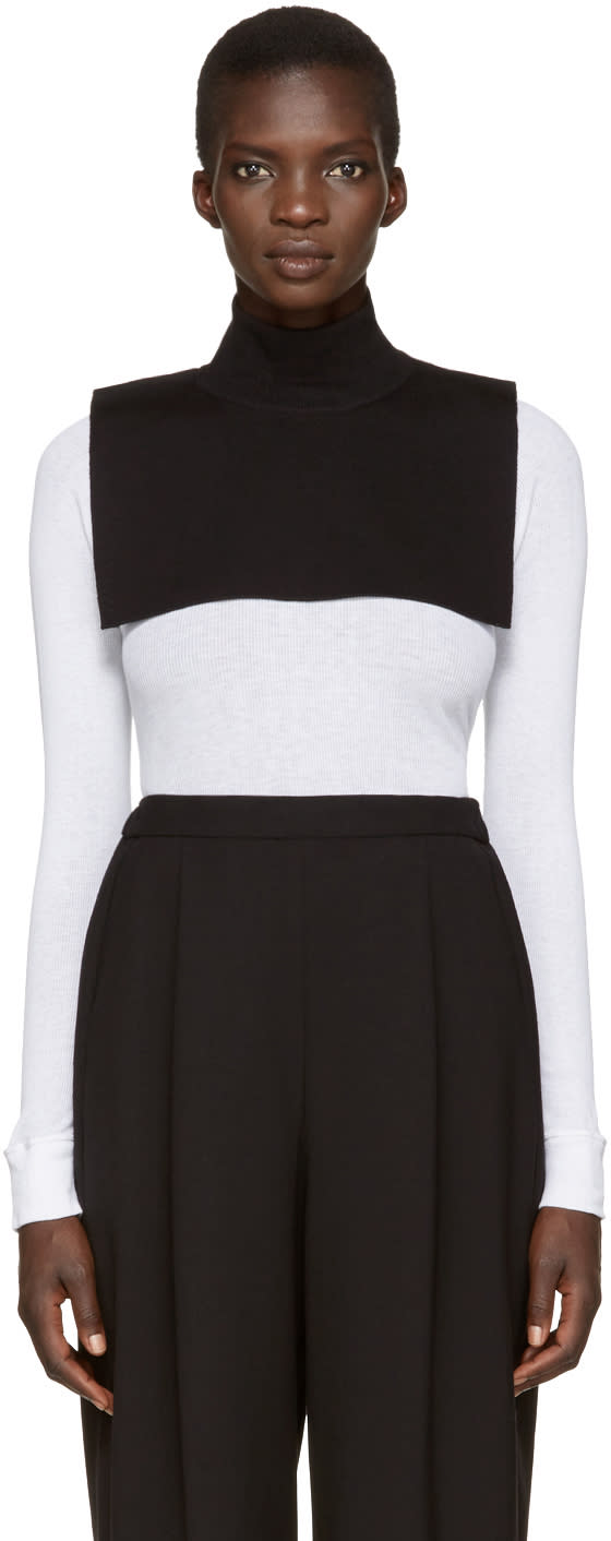 Enfold Black Wool Turtleneck Collar