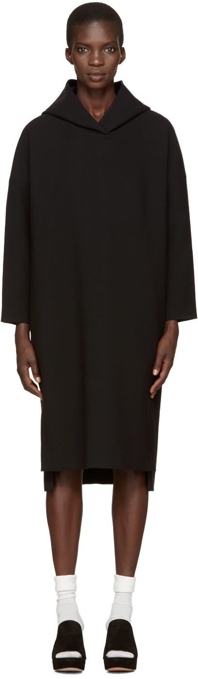 Enfold Black Hooded Dress