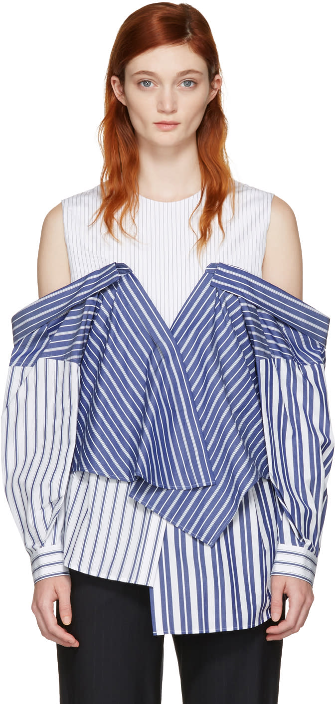 Enfold White and Navy Reconstructed Shirting Blouse