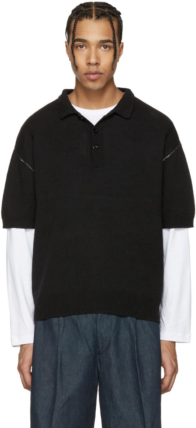 Tomorrowland Black Contrast Stitch Polo