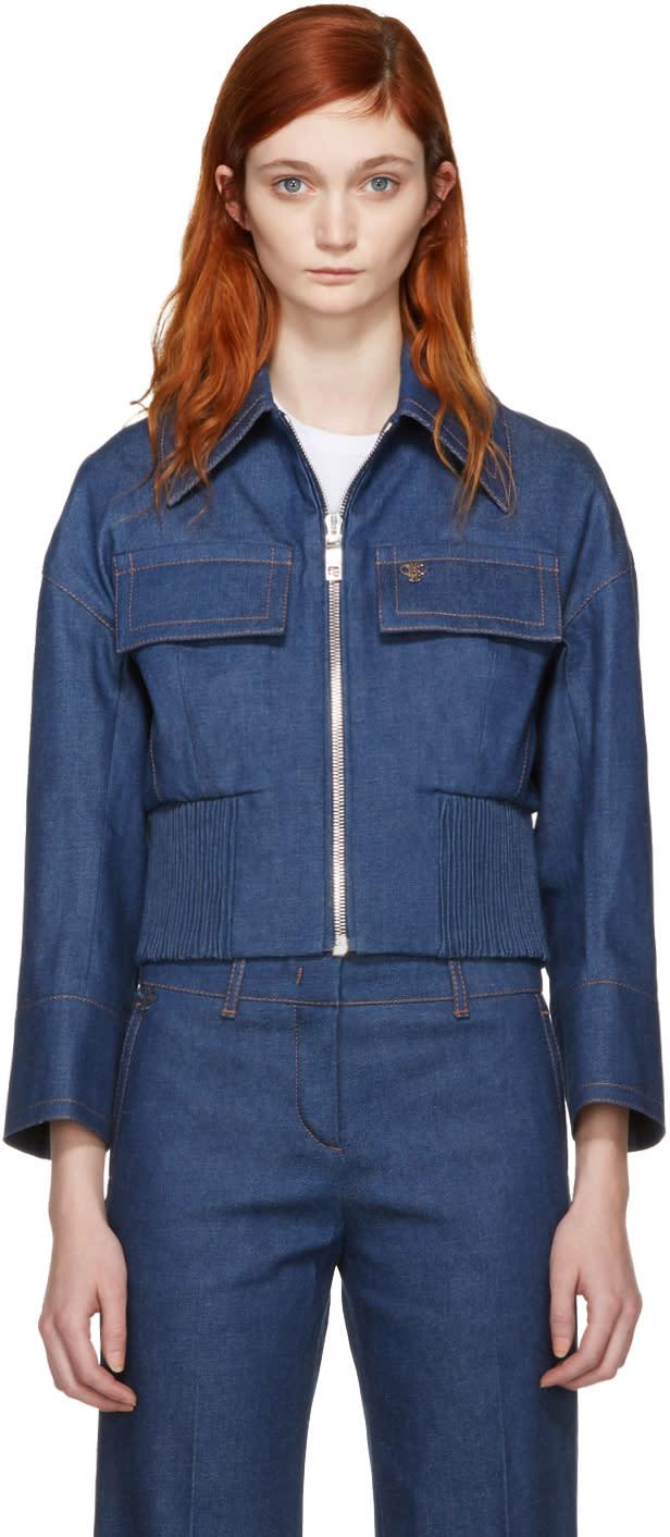 Image of Emilio Pucci Blue Front Zip Denim Jacket