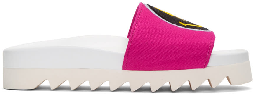 Joshua Sanders Pink Rainbow Smile Slide Sandals