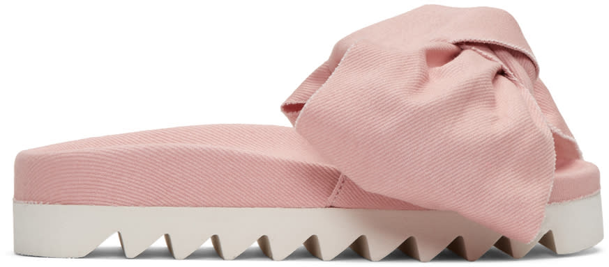 Joshua Sanders Pink Denim Bow Slide Sandals