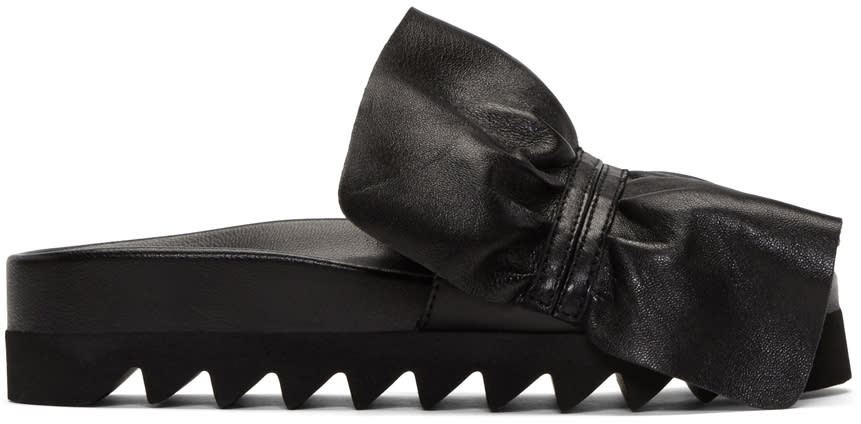 Joshua Sanders Black Ruched Slide Sandals