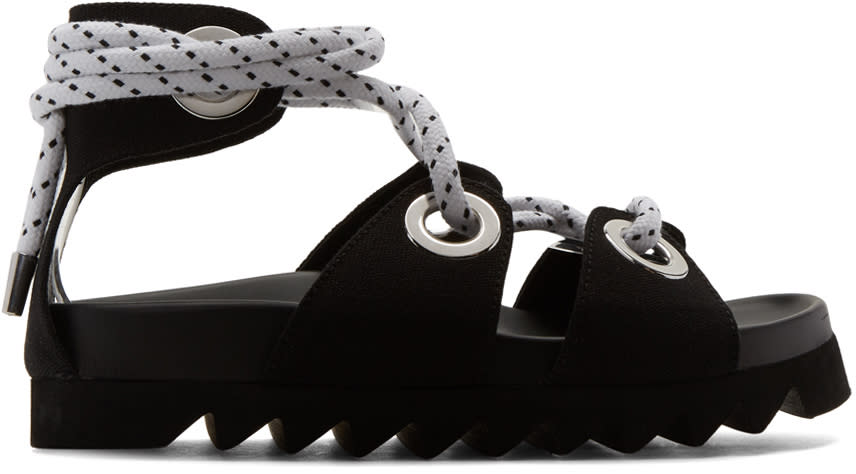 Joshua Sanders Black Sailor Lace-up Sandals