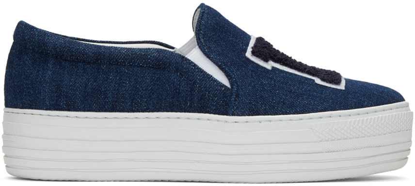 Joshua Sanders Blue Denim la Double Slip-on Sneakers
