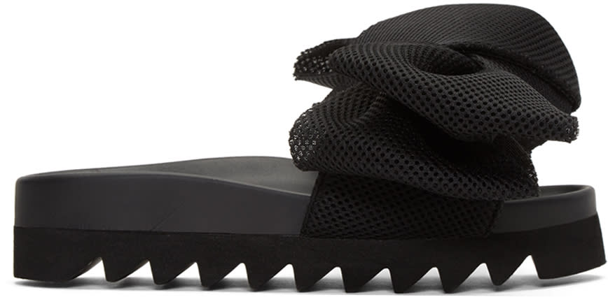 Joshua Sanders Black Bow Slide Sandals