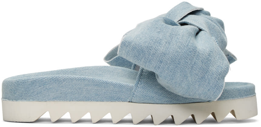 Joshua Sanders Blue Denim Bow Slide Sandals
