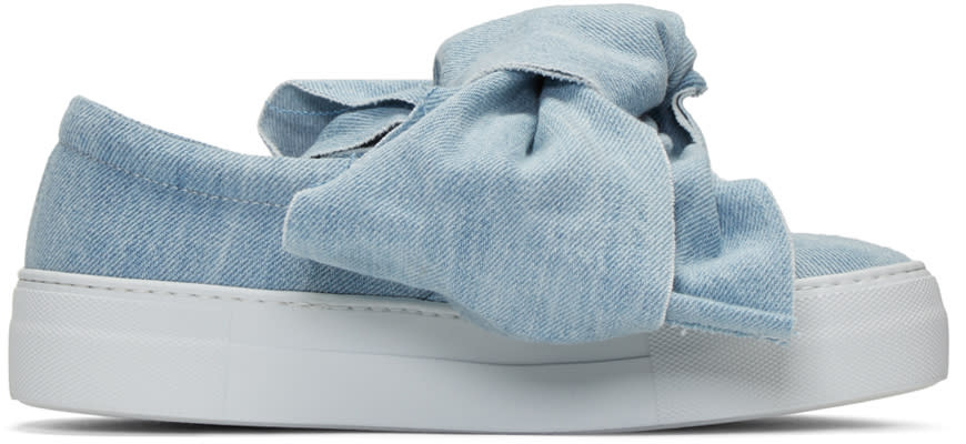 Joshua Sanders Blue Denim Bow Double Slip-on Sneakers